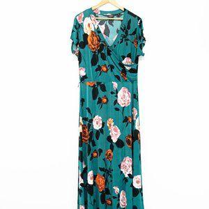 Mlle Gabrielle Teal Blue & Floral Maxi Dress